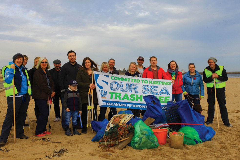 Our fantastic group of volunteers with their haul of trash