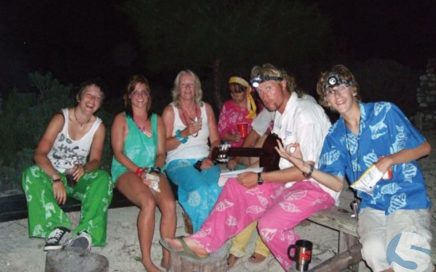The Andros crew showing off their local Andros Batik