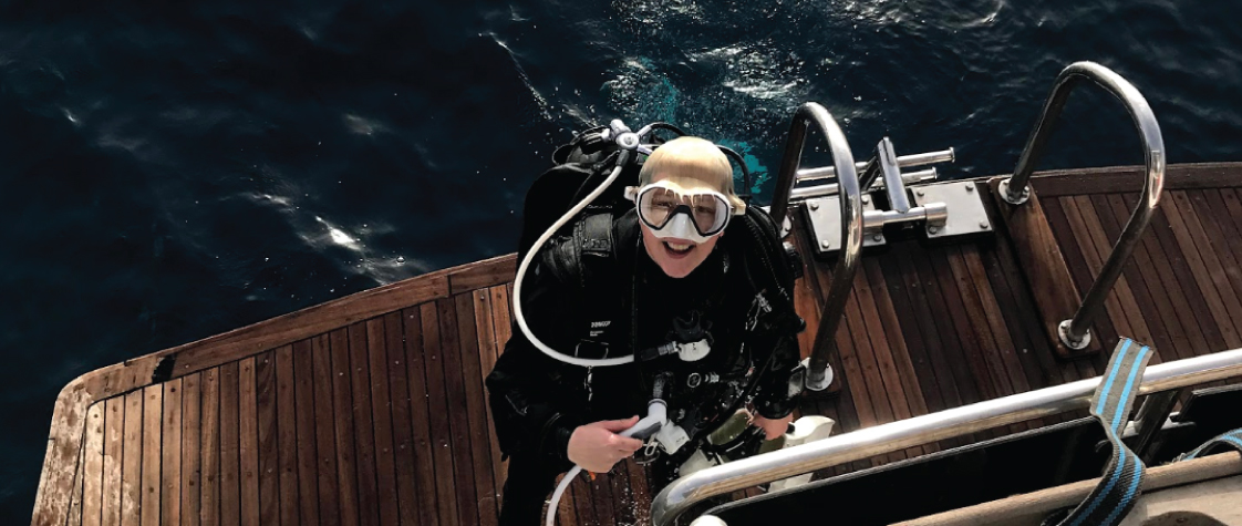 Diving in a drysuit in the Red Sea