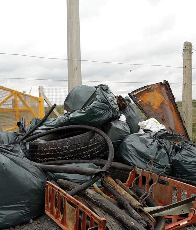 A big pile of rubbish collected from Cambois beach by The Fifth Point Diving Centre and their amazing volunteers!