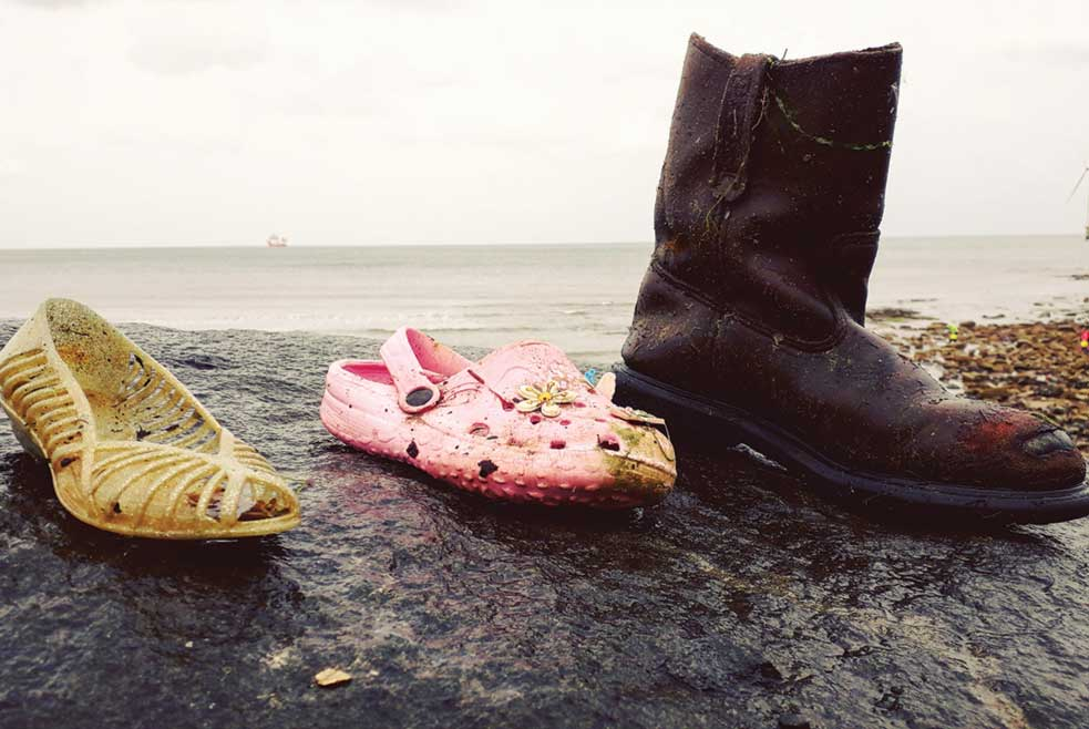 A selection of shoes found during The Fifth Point Diving Centre's latest environmental clean up at Cambois