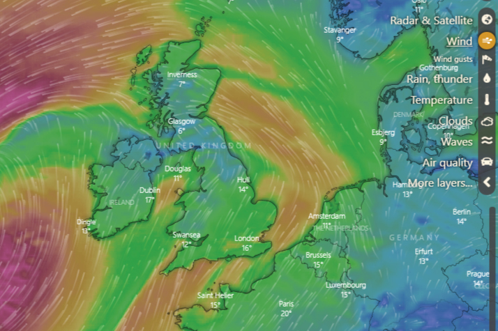 Assess dive conditions using the windy app